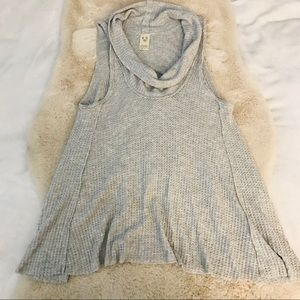FREE PEOPLE Grey Waffle Knit Cowl Neck Tank Top XS